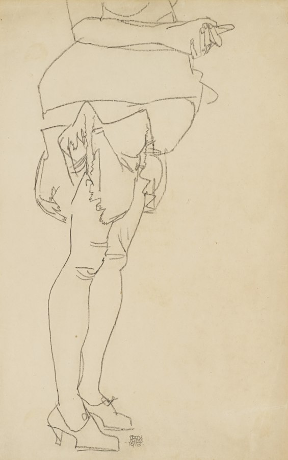 Egon Schiele-Stehend Frau Beinstudie (Standing Woman Leg Study)-1913