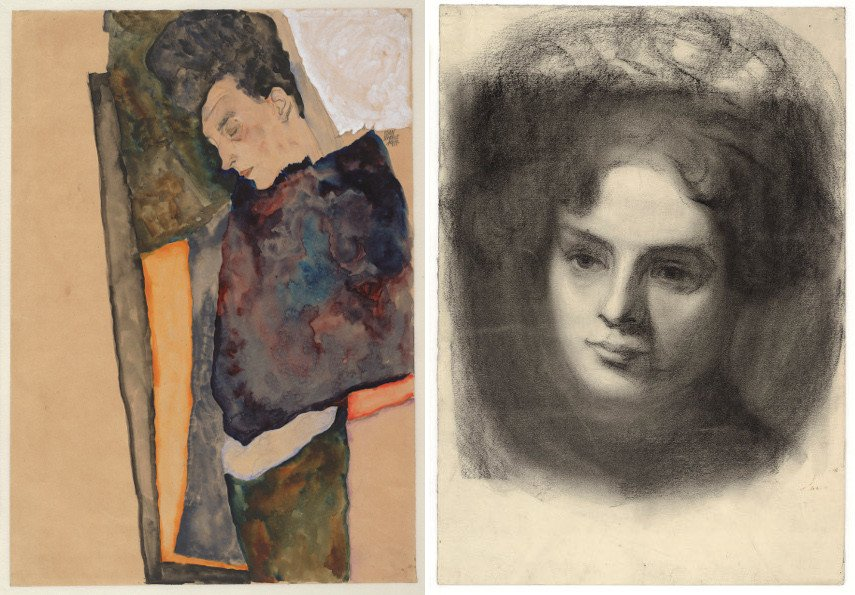 Egon Schiele - The Artist's Mother, Sleeping, 1911, Portrait of a Girl, about 1907, Klimt Gustav paintings of Vienna life, drawing from 2012; Klimt Gustav paintings are like drawing from real life, much like the ones Egon Schiele made; view Schiele Egon painting works here