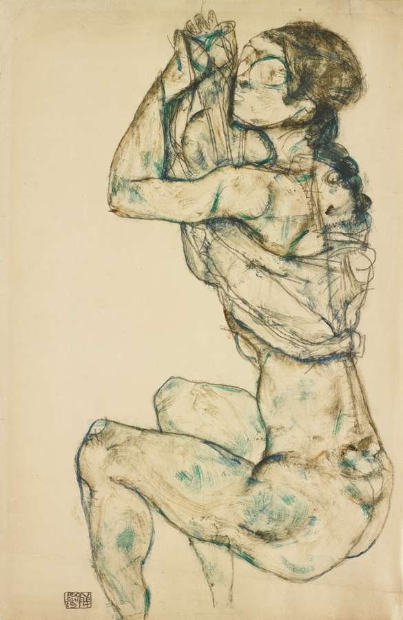 Egon Schiele-Weiblicher Akt Mit Hochgeschobenem Hemd (Female Nude With Raised Shirt)-1914
