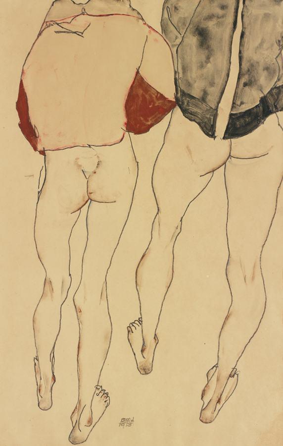 Egon Schiele-Zwei Stehende Weibliche Halbakte (Two Standing Semi-Nude Females)-1913