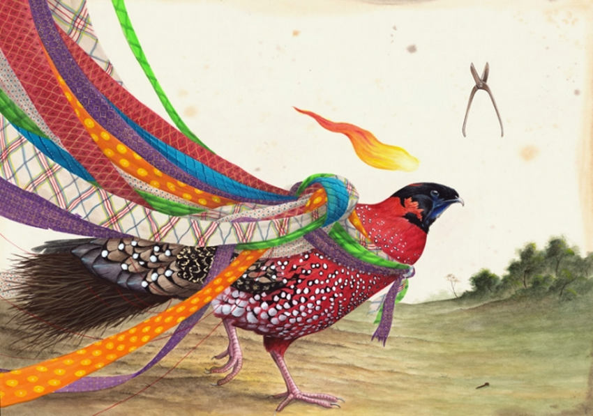 watercolor and gouache on cotton paper artwork by el gato chimney