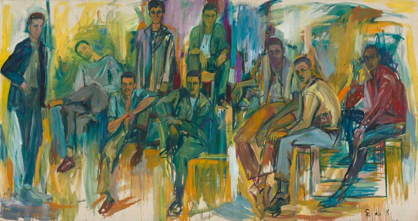 Elaine de Kooning - Portrait of the Burghers of Amsterdam Avenue in an art gallery, 1963