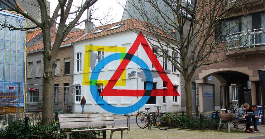 Elian - Exercise Of Anamorphosis #2, 2016, mural in Ostende, Belgium, new