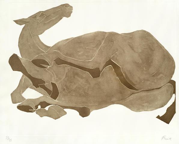 Elisabeth Frink-Rolling Over Horse-1980