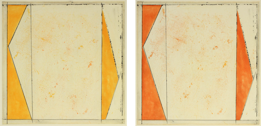 Work by  Gourlay - Saffron Slate - 2015 (Left) / Rufous Slate - 2015 (Right)