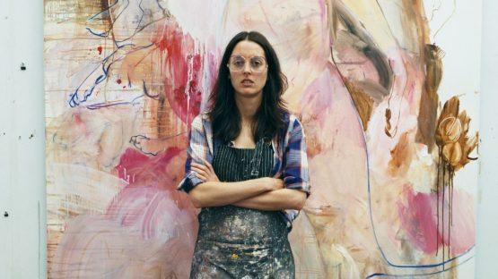 Elizabeth Neel, in her studio in Brooklyn doing paintings with paint