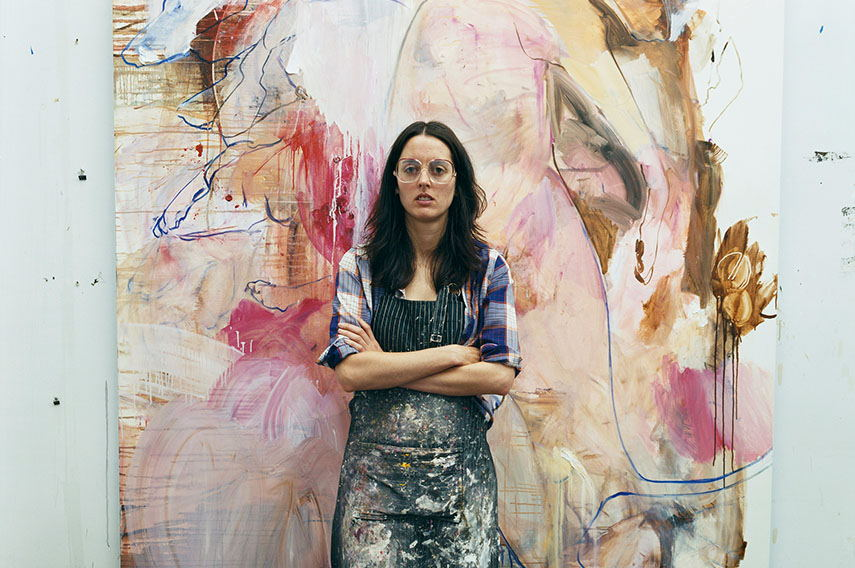 Elizabeth Neel in studio oil paint installation on canvas