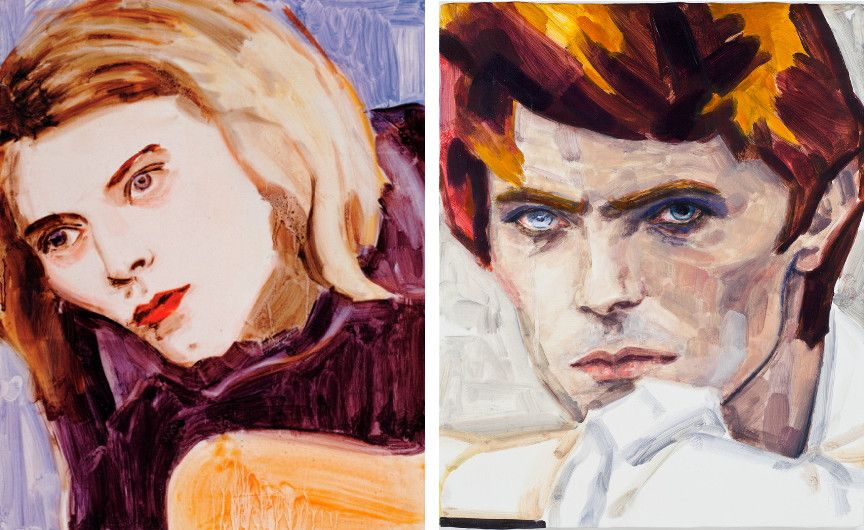 Elizabeth Peyton - Kurt (Left) ---- David Bowie (Right) - Images via york exhibition
