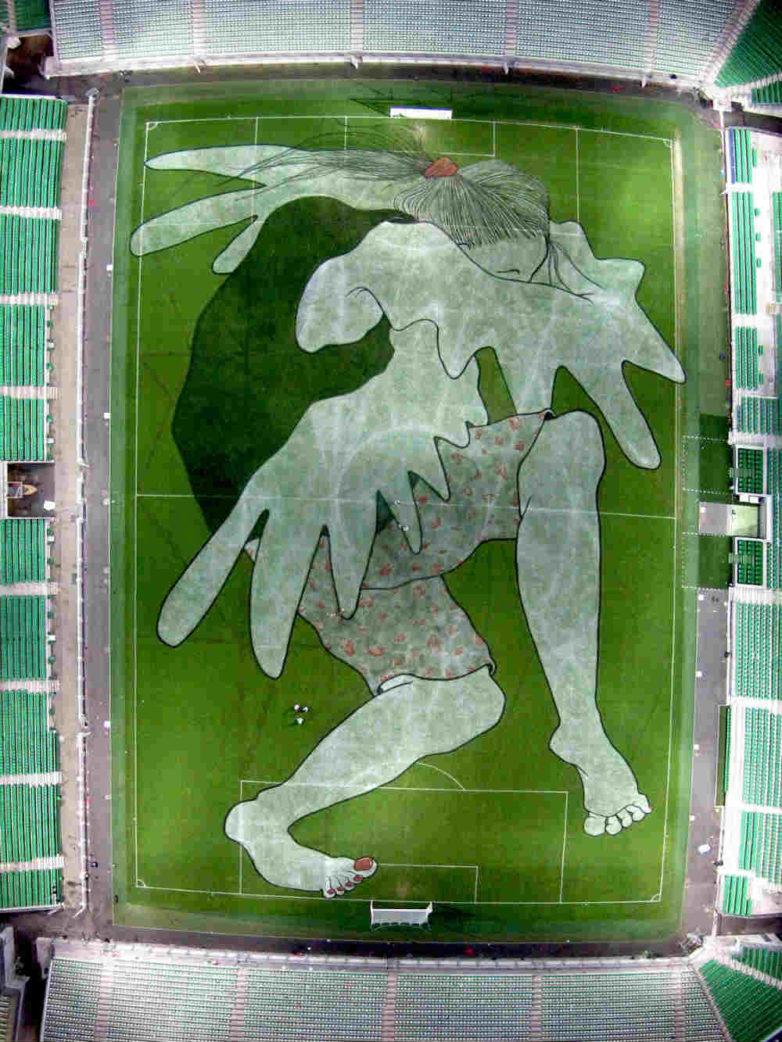 Ella & Pitr - Brigitte-Angélique Des Braises de la Marmite, Geoffroy Guichard Stadium  in St Etienne, 2016, Image copyright of the artists