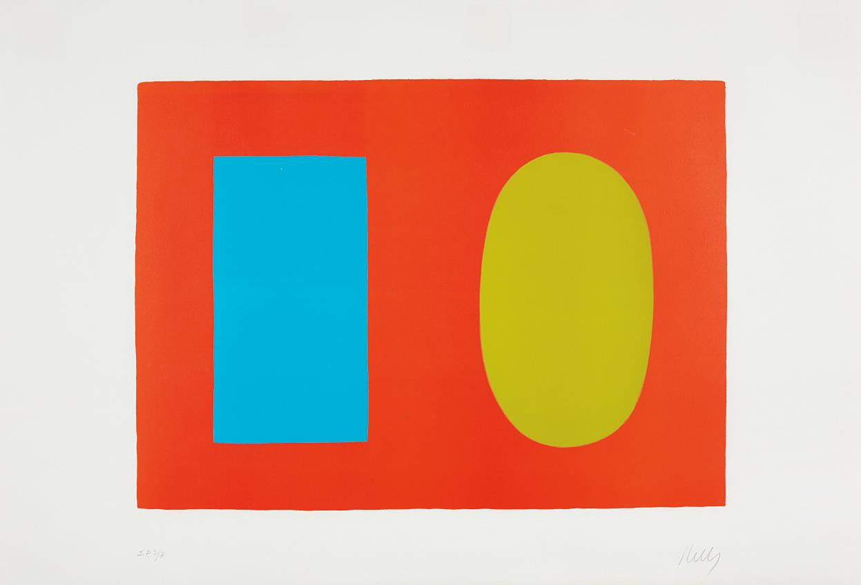 Ellsworth Kelly-Blue and Green over Orange (Bleu et vert sur orange), from Suite of Twenty-Seven Color Lithographs-1965