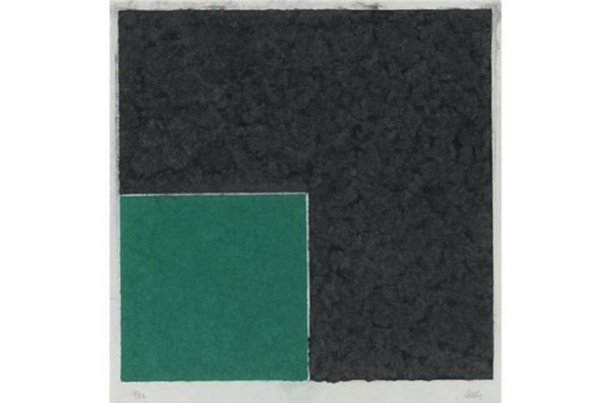 Ellsworth Kelly - Colored Paper Image XVIII (Green Square with Dark Gray), 1976