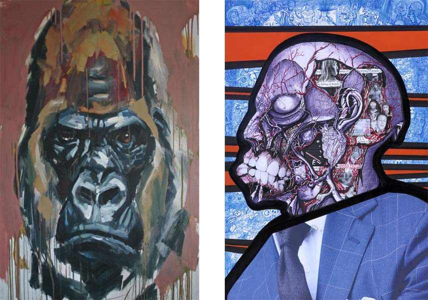 Left: Emanuel de Sousa – Gorilla, Acrylic on canvas, 150cm x 120cm/ Right: The Finsbury Park Deltics  - Despite the Overt Trappings of Wealth the Feeling of Despair is Absolute, Collage, acrylic and ink on board,  43x30