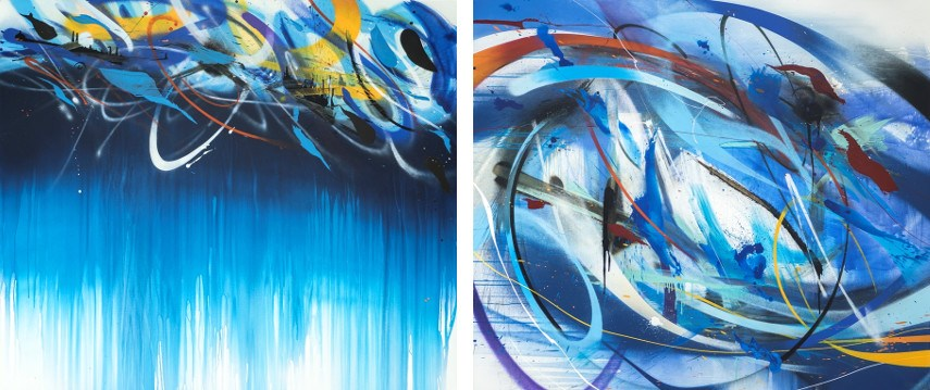 Emanuele Vittorioso - Blueshift 02, 2015 (Left) / The Blue Tre Sedicesima, 2015 (Right)