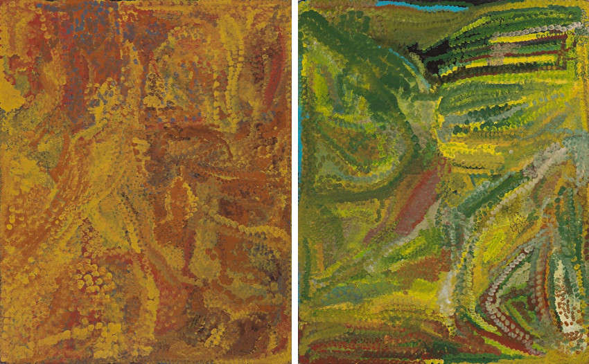 Emily Kame Kngwarreye - Alalgura - My Country, 1992 (Left) - After Rain Summer, 1993 (Right), gallery of australian and aboriginal artist work paintings and works will be shown in the aboriginal utopia exhibition in national museum of sydney