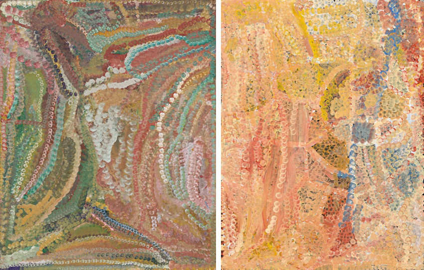 Emily Kame Kngwarreye - Merne Everything, 1994 (Left) - Wandering Emu, 1995 (Right), aboriginal artist but kame was australian artist as well, and her works were included in national exhibition in sydney and aboriginal utopia, but also in various museum and gallery