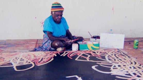 Emily Kngwarreye painting Yam Awelye, 1995