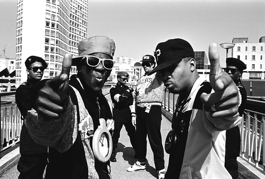 Public Enemy photographed in Birmingham, UK. May 1988