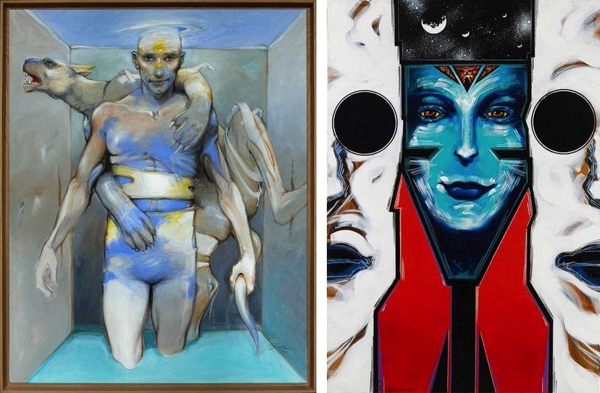 Enki Bilal - Vertebrati Couple II, 2014, Philippe Druillet - Loane Sloane 8, Painting, 2013.