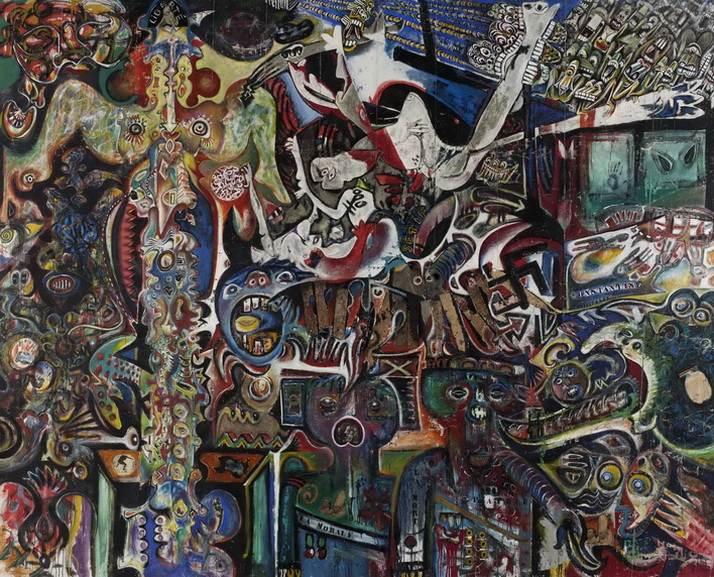 Enrico Baj, Roberto Crippa, Gianni Dova, Erro, Jean Jacques Lebel, Antonio Recalcati - Large collective anti-fascist painting