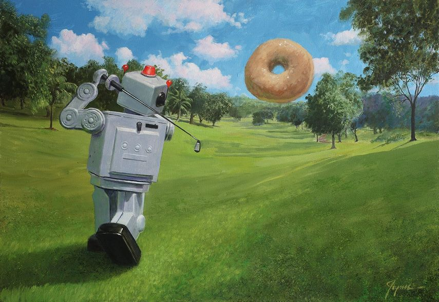the san francisco artist exhibited his tin robot and donuts painting on canvas and video in san francisco