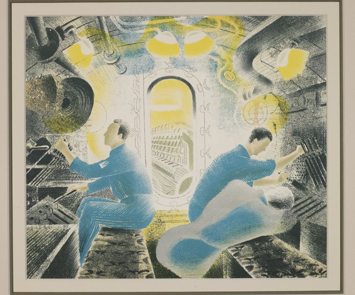 Eric Ravilious, Submarines - The Engine Room, 1940, Courtesy Osborne Samuel