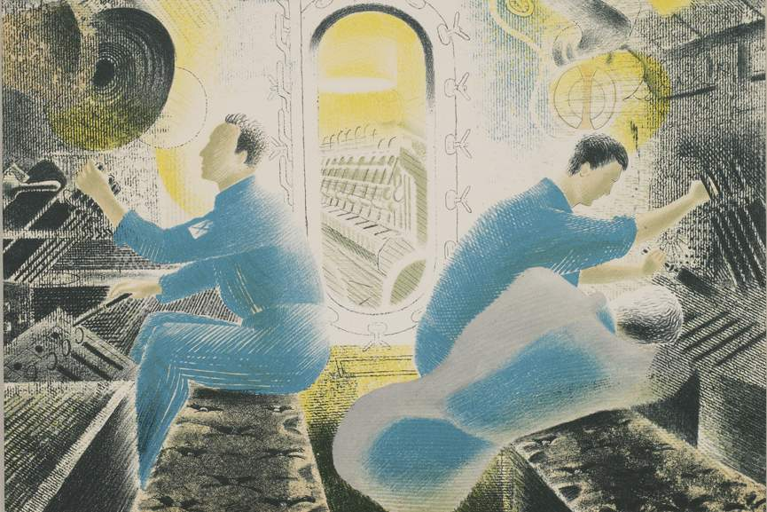 Eric Ravilious, Submarines - The Engine Room, 1940, detail Courtesy Osborne Samuel