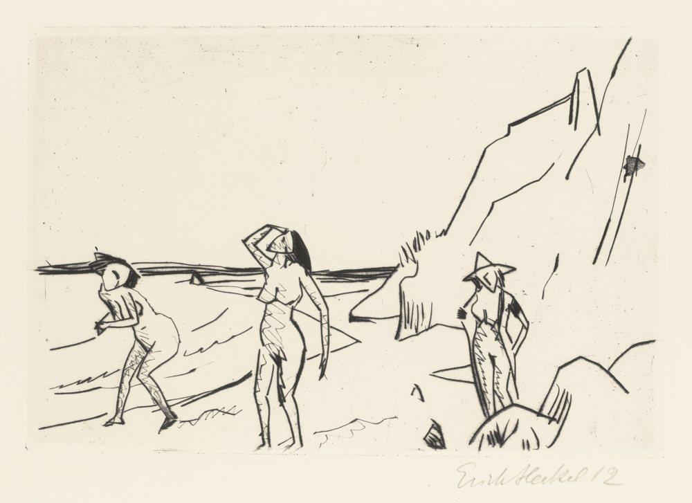 Erich Heckel-Frauen Am Strand-1912