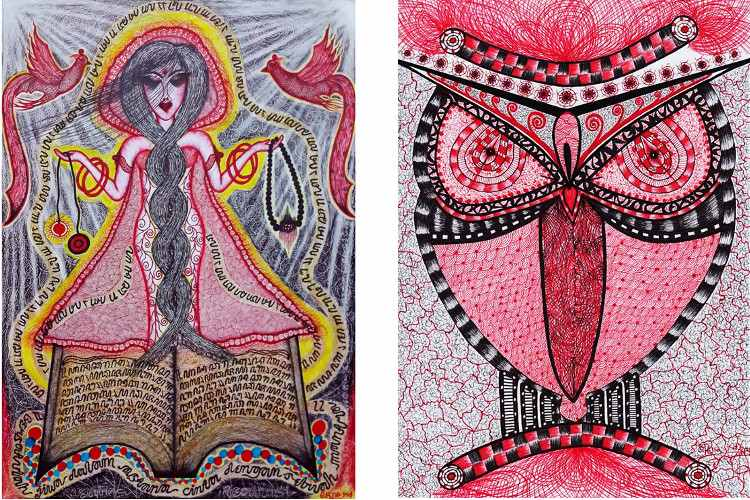Erna Kd - Ceremony, 2014 (Left) / Apparition, 2014 (Right) - ink on paper
