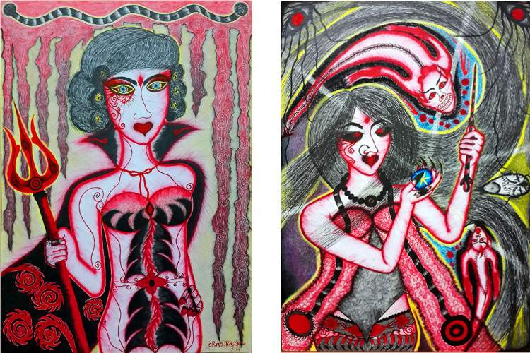 Erna Kd - Devil, 2014 (Left) / Conjure, 2014 (Right) - ink on paper