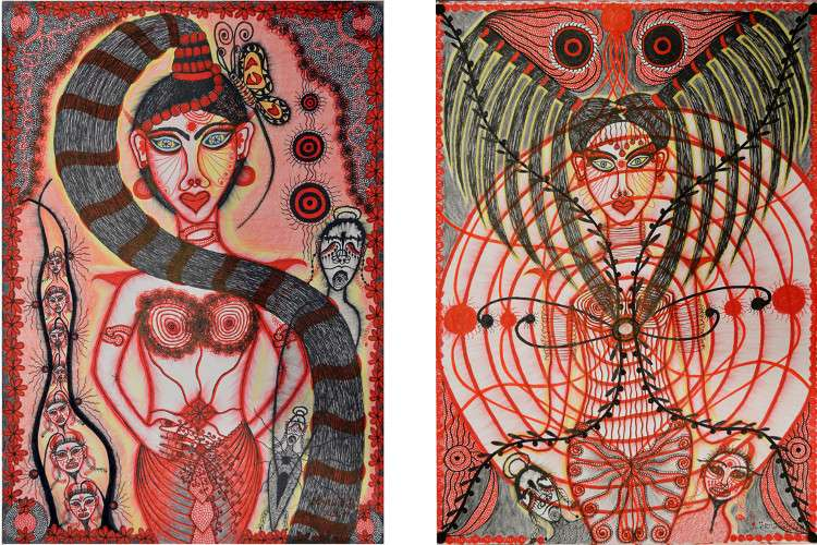 Erna Kd - Priestess  w Pony Tail, 2014 (Left) / Priestess  w Headress, 2014 (Right) - ink on paper