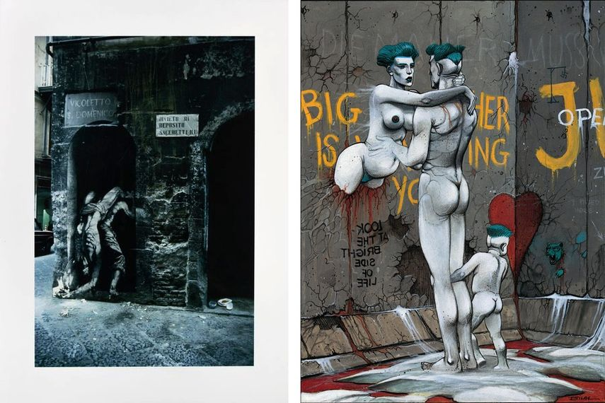 Ernest Pignon Ernest, Naples èpidémie, 1990, Enki Bilal - Die Mauer Berlin lll, 2019