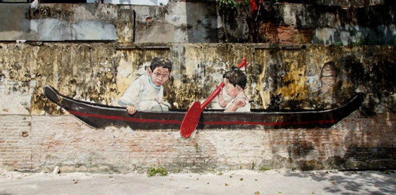 Ernest Zacharevic - Art is Rubbish - Rubbish is Art exhibition, privacy paint wall
