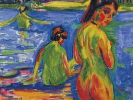 Ernst Ludwig Kirchner-Im See badende Madchen, Moritzburg-1909