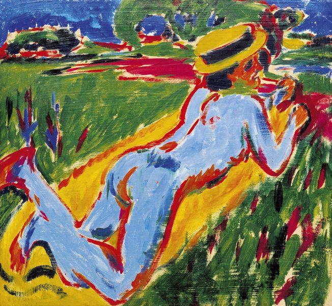 Ernst Ludwig Kirchner - Liegender blauer Akt mit Strohhut, 1909