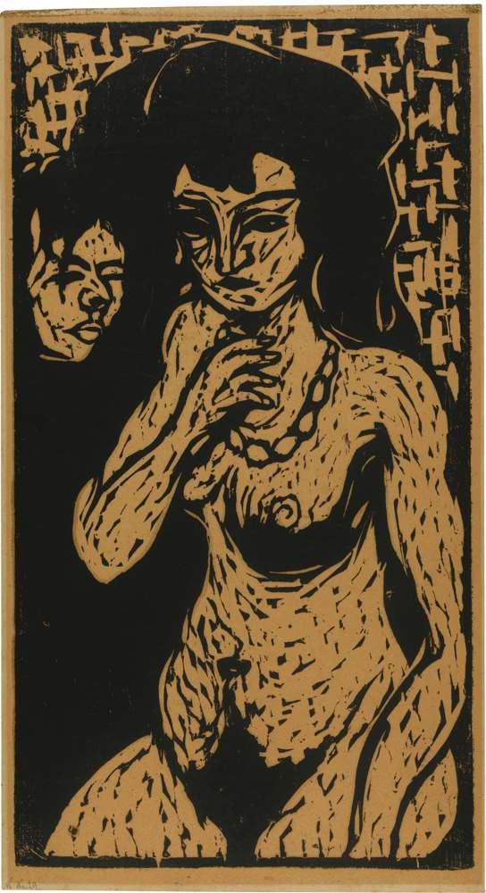 Ernst Ludwig Kirchner-Madchenakt Mit Selbstbildnis. - Nacktes Madchen Mit Kette-1908