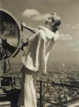 Erwin Blumenfeld-Lisa Fonssagrives on the Eiffel Tour, for Vogue, Paris-1939