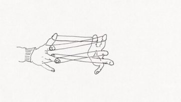 Erwin Wurm - 4 elastic bands 2 hands Wittgenstein (detail), 1990