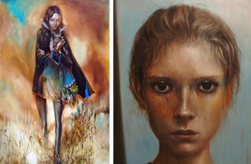 Esao Andrews - Chelsea, 2010 (left), Poppies (detail) (right), 2010