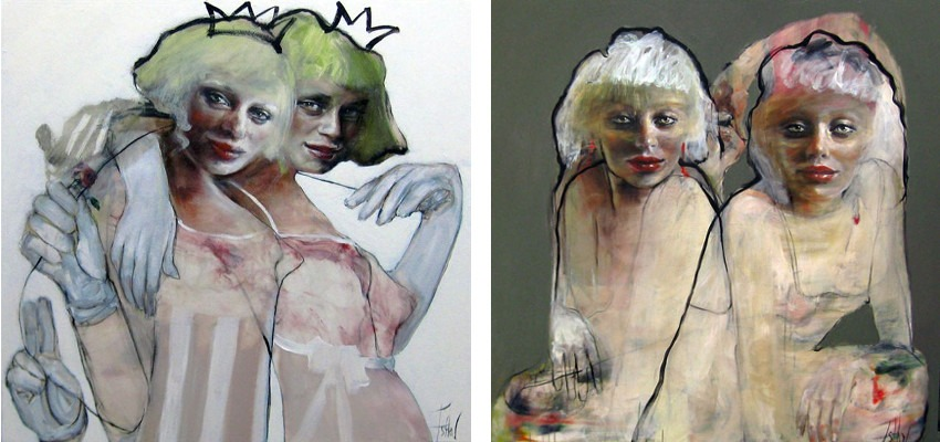 Works by the Australian artist Esther Erlich - Two Debs, 2013 (Left) / Sisters, 2014 (Right)
