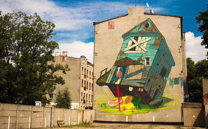 mural paint richmond Etam Cru - Traphouse (Lodz, Poland), 2012