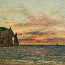 Eugene Louis Boudin-Etretat, La Falaise Daval Au Soleil Couchant-1890