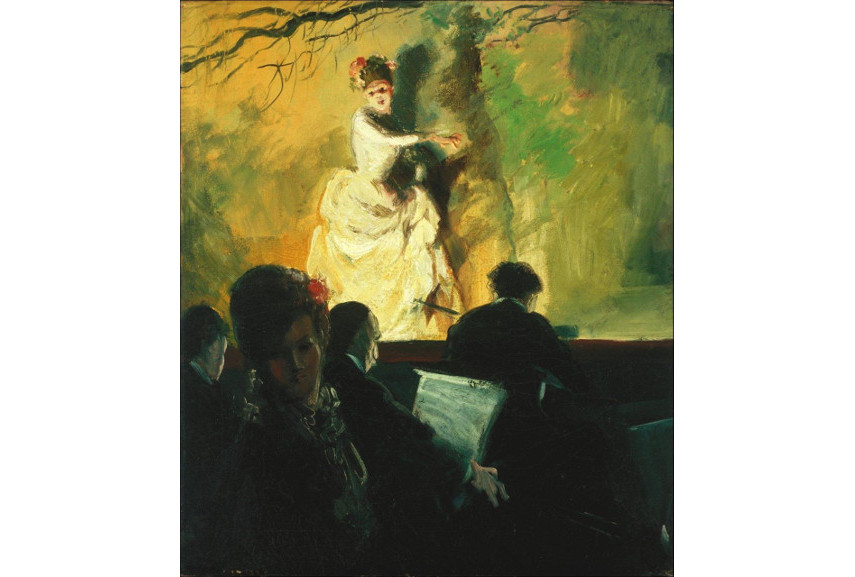Everett Shinn - Footlight Flirtation in a Museum, 1912 - Image via pinterestcom