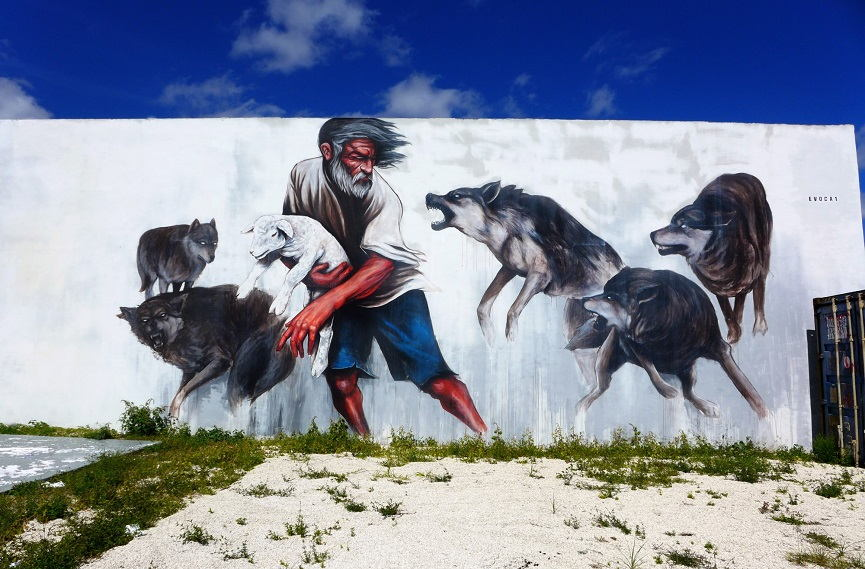 Evoca1 - Running With The Wolves, a Mural in Miami Florida, 2012