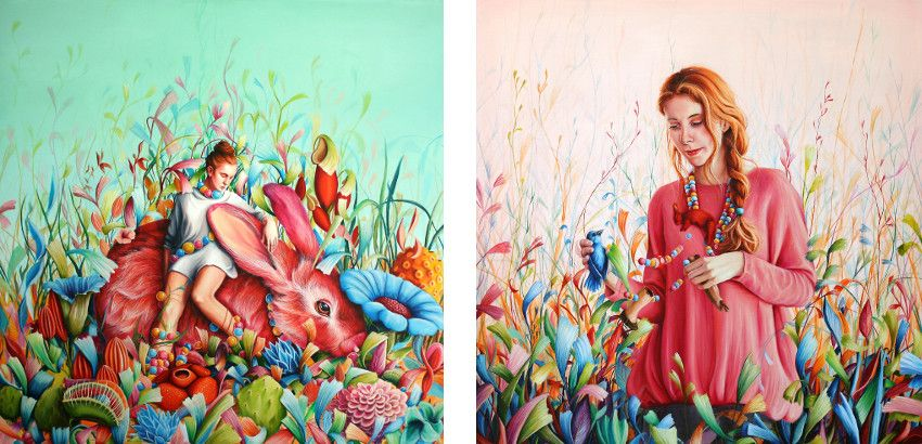 oil on canvas work - Dreamer, 2014 (Left) / Talismans, 2014 (Right)