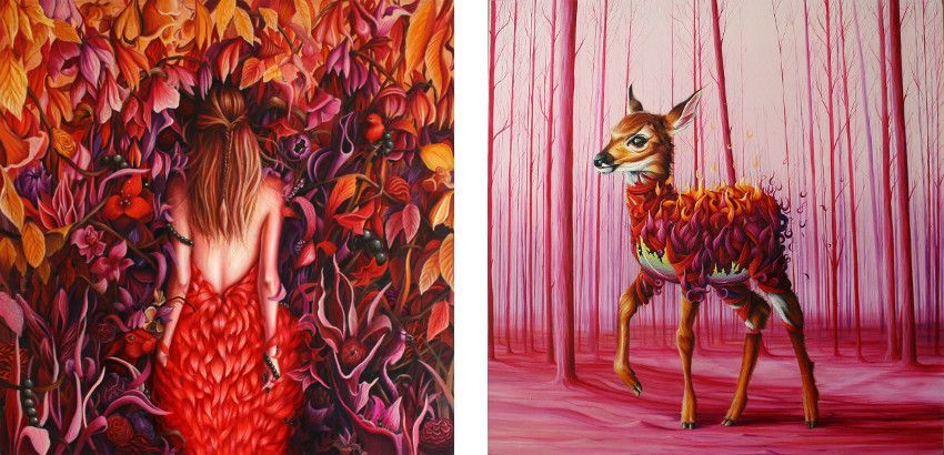 oil on canvas - Every Night I Fall Deper and Deeper, 2015 (Left) / Who Killed Bambi, 2015 (Right)