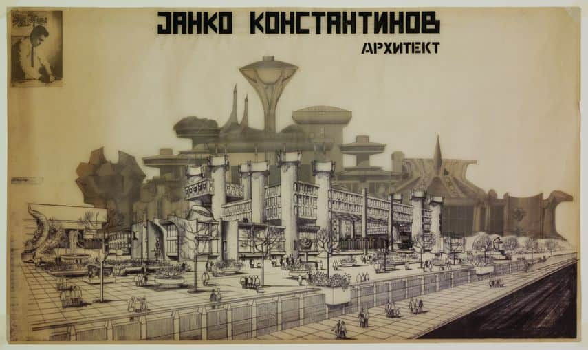 Exhibition poster for the retrospective of architect Janko Konstantinov, 1984