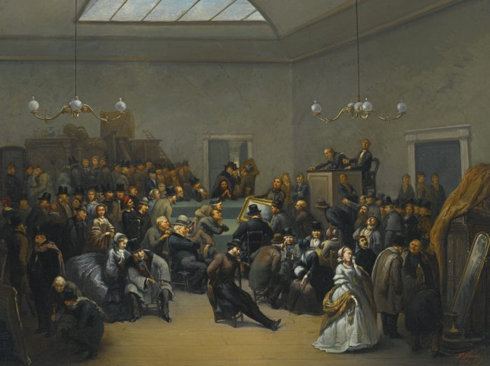 F. Virnoldes-An Auction At Puttick And Simpson-1862