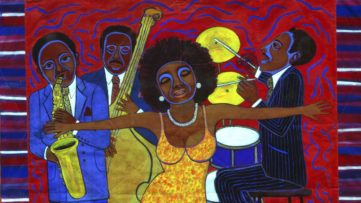 Faith Ringgold, Jazz Stories- Mama Can Sing, Papa Can Blow #1- Somebody Stole My Broken Heart (detail), 2004