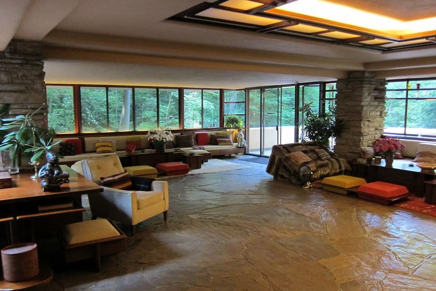 Frank Lloyd Wright - Fallingwater in Mill Run, Pennsylvania, Interior, one of the World Heritage sites selected by UNESCO