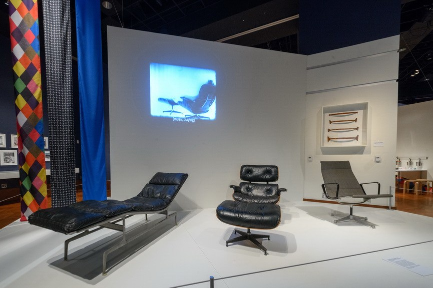 Famous Eames Lounge and Chaise Prototype inside the exhibit
